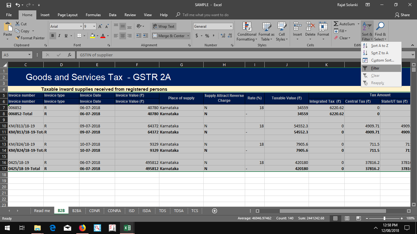 GSTR 2A To Excel For Reconciliation photo 2