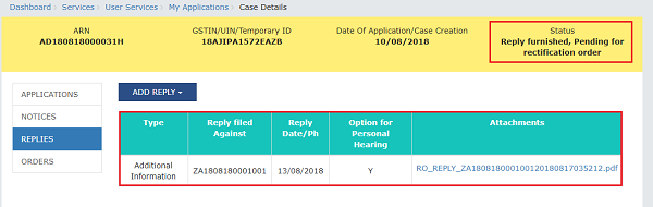 Reply furnished, Pending for rectification order