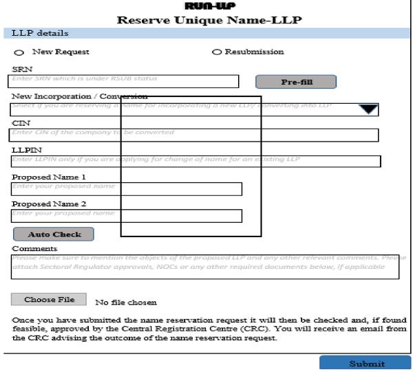 Reseverve Unique Name-LLp