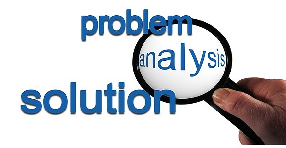 problem analysis solution hand magnifying glass