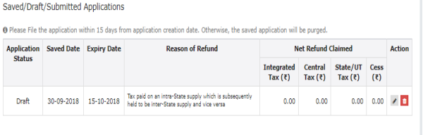 GST RFD-01A- Refund of CGST & SGST paid by treating supply as intra