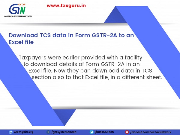 Download TCS data in Form GSTR-2A to an Excel file