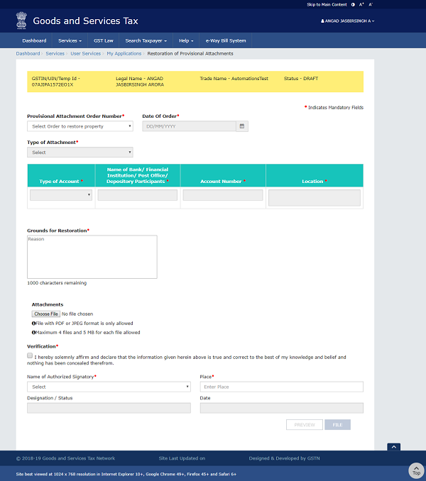Filing Application for Restoration of Provisional Attachment Image 4