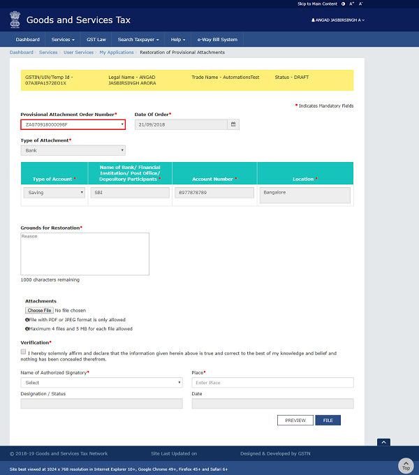 Filing Application for Restoration of Provisional Attachment Image 5