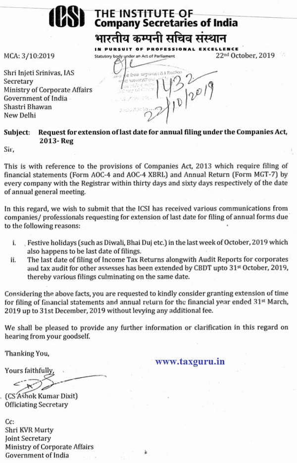 ICSI Request Annual Return Date Extension