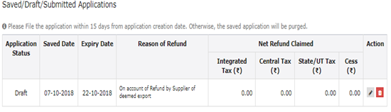 GST RFD-01A- On account of Refund by Supplier of deemed export