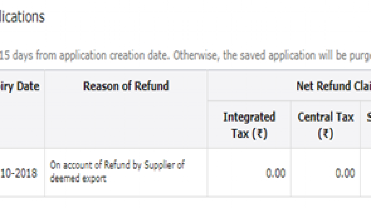 GST RFD-01A- On account of Refund by Supplier of deemed