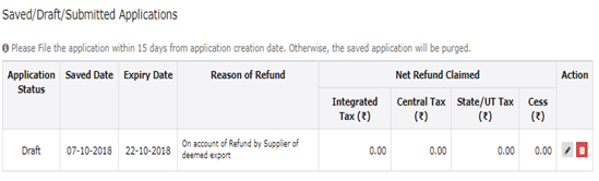 Saved Or Filed Applications tab