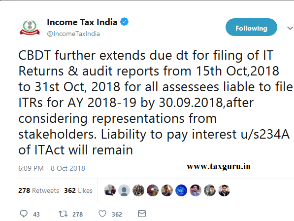 Tax Audit Date extended to 31st Oct 2018