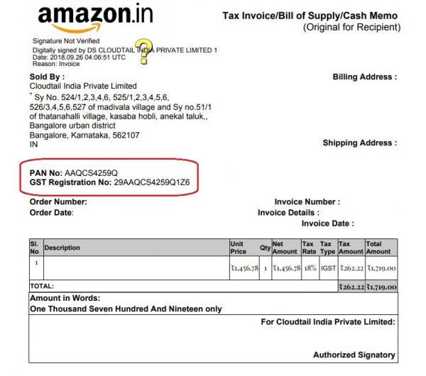 GST Invoice by Amazon