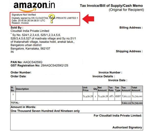 Amazon Invoice GST Format