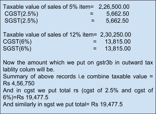 GSTR1 (Monthly) Calculation - One