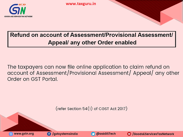Refund on account of AssessmentProvisional Assessment Appeal any other Order enabled