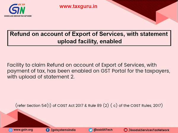 Refund on account of export of services