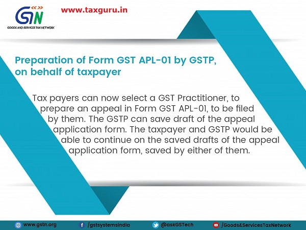 New functionality update on GST Portal Preparation of Form GST APL-01 by GSTP on behalf of taxpayer