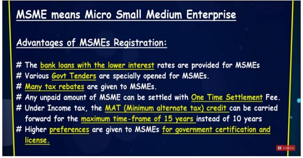 Advantages of MSME