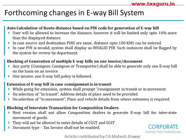 Changes in E-way bill