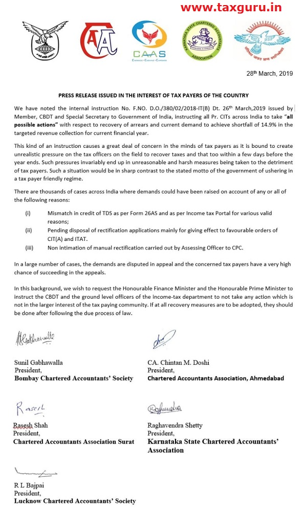 Press Release Issued in The Interest of Tax Payers of The Country