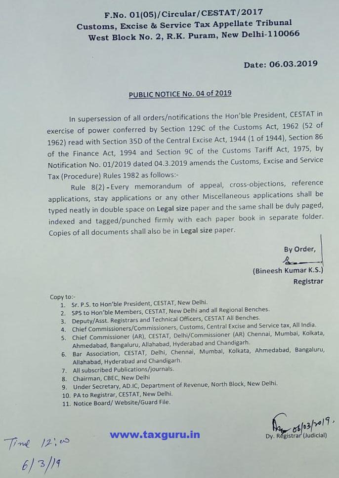 Public Notice 4 of 2019 CESTAT