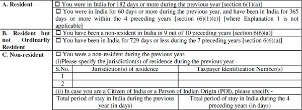 Additional details for Residential Status (in ITR 2 and 3)
