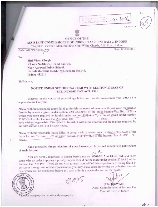 Office of the Assistant Commissioner of Indore Tax