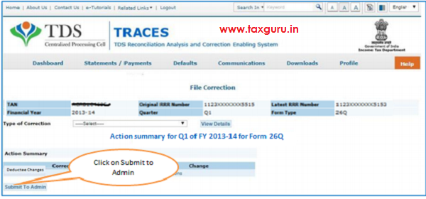 Action Summary –Submit to Admin User