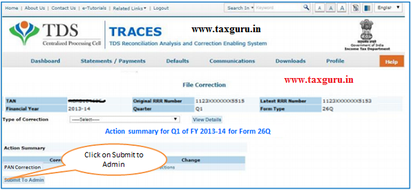 Action Summary –Submit to Admin User image 2
