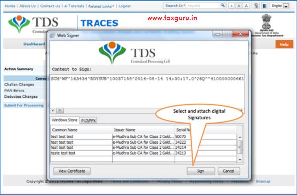 Action summary- Attach Digital Signature