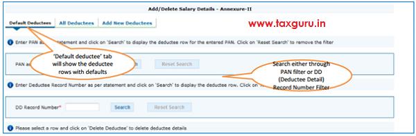 Add Delete Salary Detail –Annexure II Default Deductee