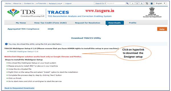 """Click on """"TRACES Websigner Setup V 2.0"""" to download the Emsigner setup"""