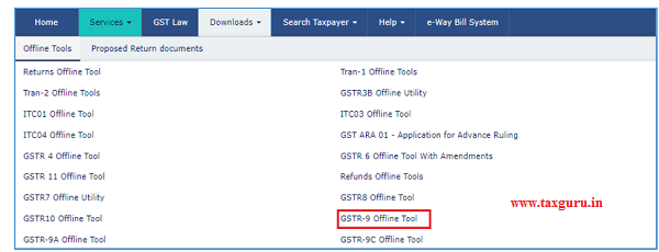 Click the Downloads Offline Tools GSTR-9 Offline Tool option