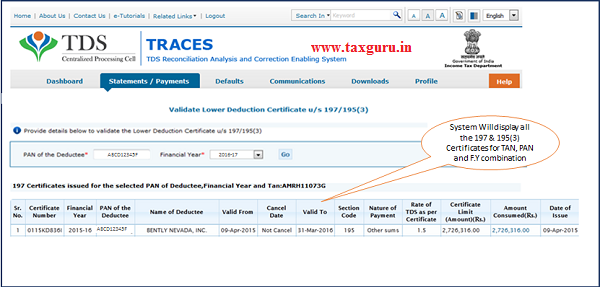 How to validate Section 197 & 195(3) Certificate from Traces