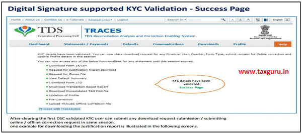Digital Signature Supported KYC Validation – Success Page