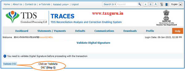 Digital Signature supported KYC Validation –KYC page -user has already validated the DSC supported KYC