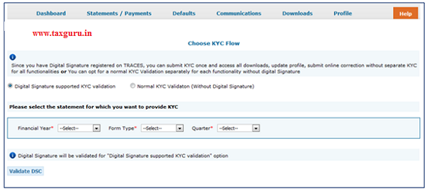 Digital Signature supported KYC Validation contd. (Step 1)- Request for Default Resolution
