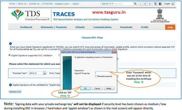 Digital Signature supported KYC Validation contd. (Step 4 & Step 5)