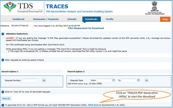 Traces PDF Generation Utility to convert Form 16 / 16A text files