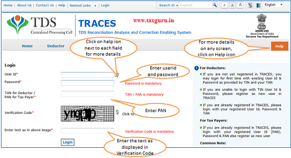 E-TutorialTax Payer Registration Login to TRACES