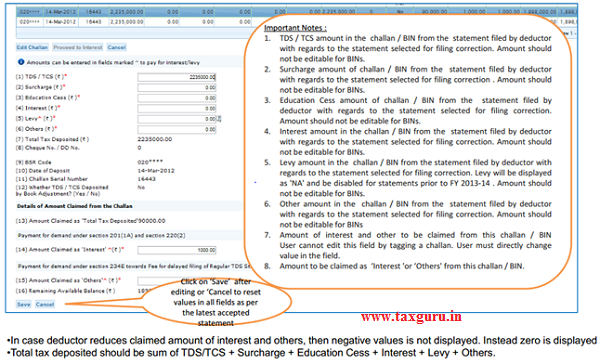"""Edit Challan details to """"Pay 220I, LP, LD, Interest, Late Filing, Levy (Contd.)"""