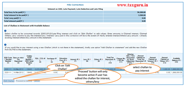 """Edit Challan details to """"Pay 220I, LP, LD, Interest, Late Filing, Levy"""