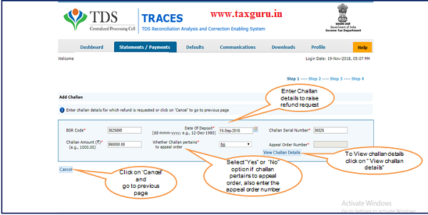 Enter challan details and click on View challan details