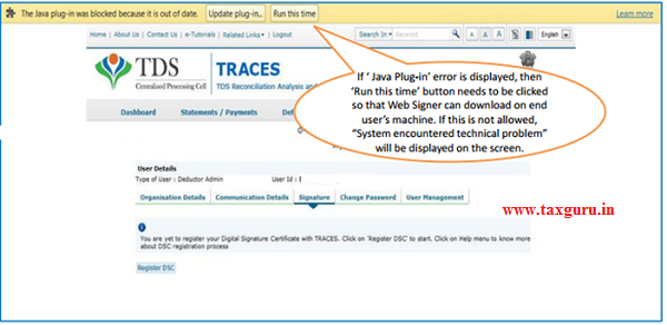 Error Messages at the time of Register Digital Signature (Contd.) image 2