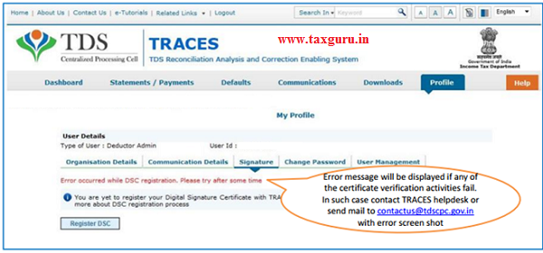 Error Messages at the time of Register Digital Signature (Contd.) image 3