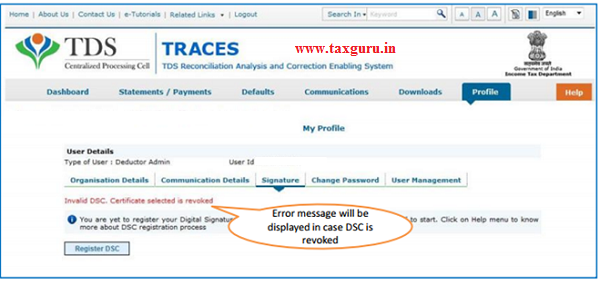 Error Messages at the time of Register Digital Signature (Contd.)