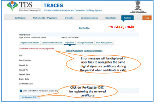 Error Messages at the time of Register Digital Signature