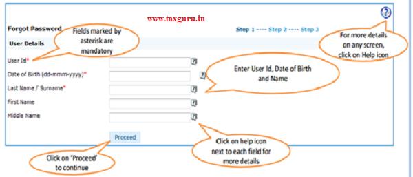 Forgot Password - Step 1 User Details