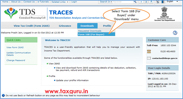 E-Tutorial on How to Download Form 16B from TRACES Website