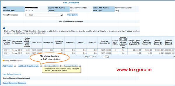 Govt Deductors - Add New Book Entry Receipt to Statement