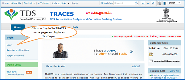 Home Page – Login to TRACES