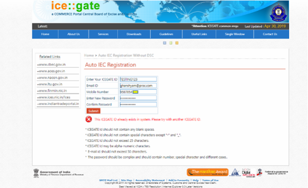 ICEGATE Error message